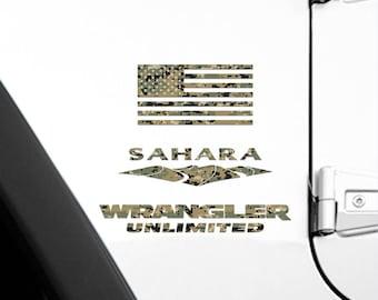 Set of 2 - Full Fender Replacement Set of Jeep Wrangler American MARPAT Marines Camo Flag Decals OEM