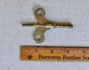 Vintage Brass Clock Winding Key, Antique Brass Clock Spring Winding Key
