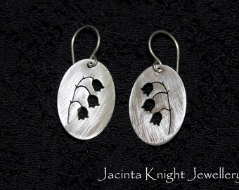 Lily of the valley sterling silver earrings