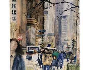 Downtown Chicago street scene iwith highrises and people walking down Michigan Ave, Watercolor art print — ready to hang
