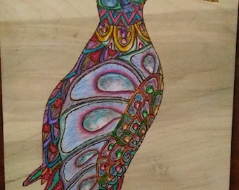 "Pyrography Woodburning, Penguin Covered in Shiny Things, 11""x8.5"""