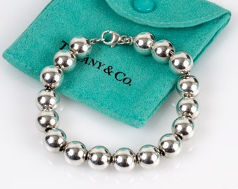 Authentic Tiffany Bracelet 10mm Bead Ball // Tiffany & Co. 925 Sterling Silver // 7.5 Inch Beaded Bracelet // With T and Co Pouch