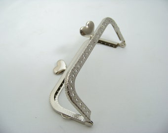 Silver Purse Frame with Heart Clasp 5061