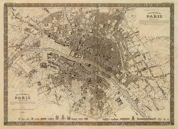Paris map Old Map Vintage Paris City Plan Map of Paris 1860