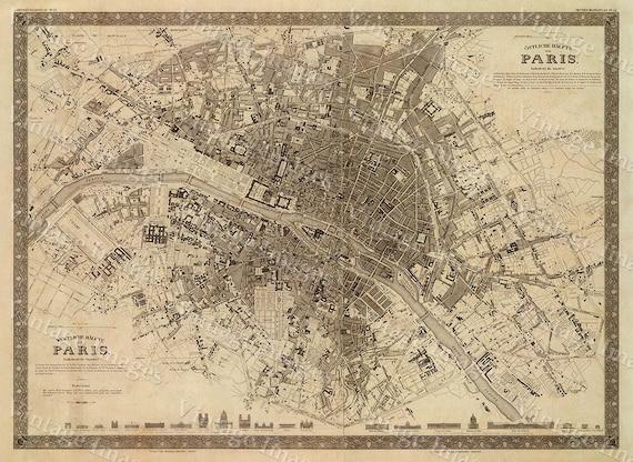 paris map old map vintage paris city plan map of paris 1860