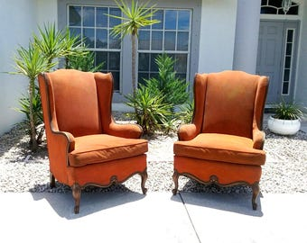 19C Antique Louis XV Wing back Lounge Chairs. Pick Up!