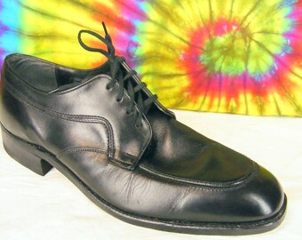 12 D mens vintage STACY ADAMS black leather oxfords shoes NOS