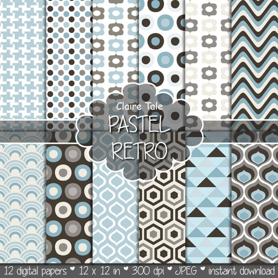 Geometric digital paper, retro paper, retro geometric patterns, classic retro paper, pastel retro triangles, honeycomb, circles, houndstooth