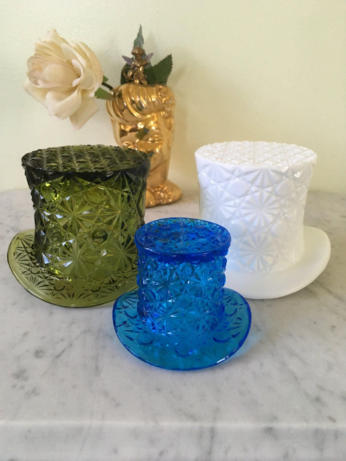 Vintage fenton daisy and button glass hat vases set of three zoom reviewsmspy