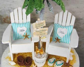 "FITS 6"" CAKE TOP Rustic Beach Wedding Cake Topper Request Your Colors! Handmade Adirondacks/Honeymoon Coronas/Custom Sign/Palm Tree/More!"
