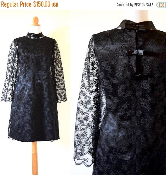SALE SECTION / 50% off Vintage 60s Inky Black Satin Wiggle Dress with Black Chantilly Lace Bell Sleeve Overlay (size small, medium)