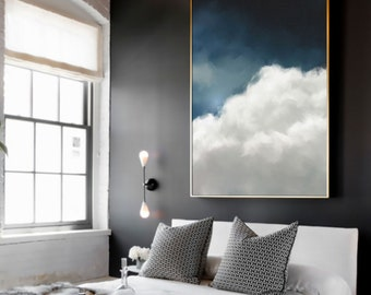 Extra Large Modern Wall Art Printed on Canvas – Cloud Painting – Trending Now– Contemporary Hand Painted Abstract Art Home Decor