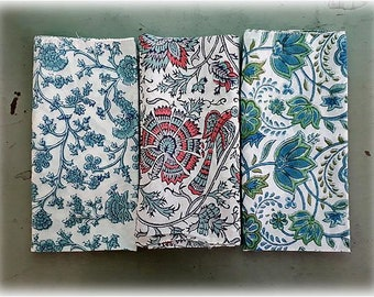 "Batch/set of 3/45x45cm/18""x18""Anokhi vintage fabric/cotton/Gauze cotton/Thin cotton/light cotton/Hand block print/India/FREE SHIPMENT"