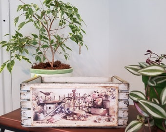 Handmade decoupage wooden flower box with rustic vintage style look.