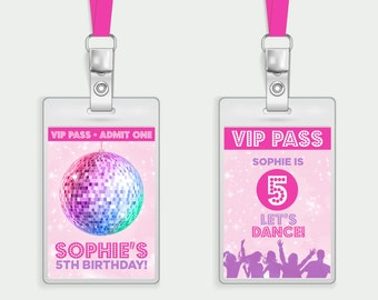 Disco Lanyard Insert Printable Personalised Childs Kids Invite Disco Party Teen Tween Little Girl Disco Ball Dancing Pink Pretty