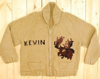 """Vintage 1950's Brown Moose Pattern Cowichan Sweater / """"Kevin"""" / Retro Collectible Rare"""