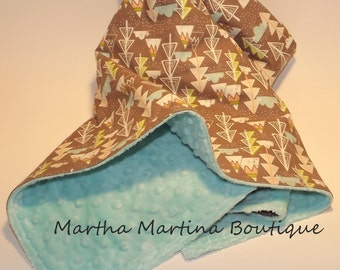 Super Snuggly Baby Minky Blanket 'Aspen Mountain Snow',Blue, Cream, Green, Trees, Mountain,Baby Shower Gift, Baby Boy