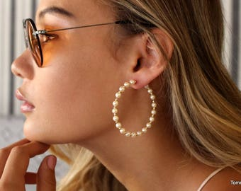 Pearl Hoop Earrings, Hoop Earrings, hoops earrings, Gold Hoops, Earrings, Big Hoop Earrings, Beaded Pearl Earrings,