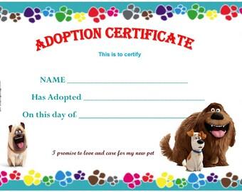 Secret lives of pet Adoption certificate