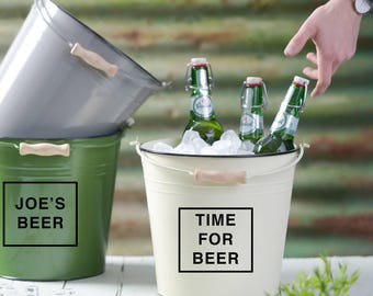 Personalised Beer Bucket - Customised Ice Bucket - Bucket With Wooden Handle - Gift For Men - Fathers Day Gift - Personalized Barware