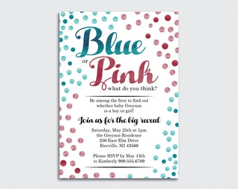 Blue or Pink  Confetti Gender Reveal Party Invitation
