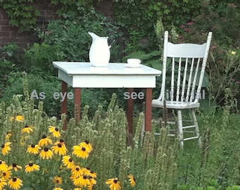 Antique Table in the Garden 5x7 photo greeting card