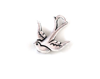 Silver bird charms | Jewelry Supplies | Swallow Bird Pendant | Large Charm | Jewelry components | DIY jewelry  | Beadvamp