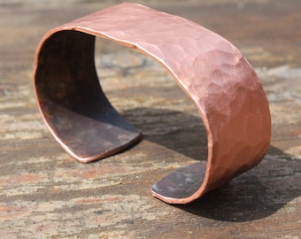 Hammered Copper Cuff Bracelet Hand Forged