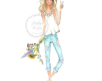 Flower Child Fashion Illustration Blonde Country Girl Wall - Dorm Art
