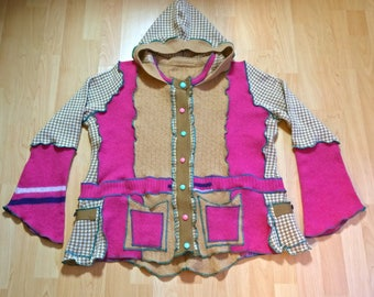 Upcycled Clothing/Sweater Jacket/Hoody/Festival Clothing/Funky Clothing/Boho Clothing/Unique Clothing/Hippie Style/Knitwear/Wool/For Women