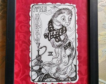 The Hermit, Alice in wonderland, black and white, pen and ink, framed, original art, illustration, Victorian, Dame Darcy