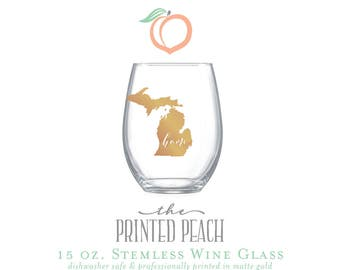 MICHIGAN HOME . stemless wine glass . dishwasher safe **SALE