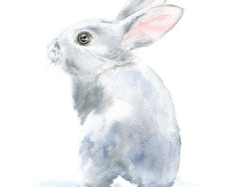 Gray Bunny Rabbit Watercolor Painting 11 x 14 Giclee Print Reproduction - Nursery Art - Woodland Animals