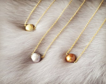 Pearl necklace, Baroque pearl necklace, Single baroque pearl, Floating pearl necklace, Freshwater pearl