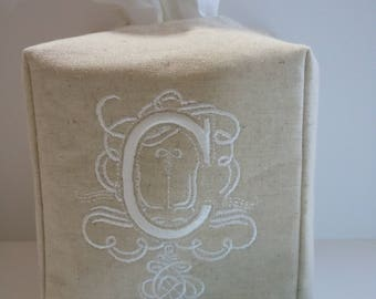 "Tissue Box Cover -  Made To Order - Monogrammed ""C""  Linen Tissue Cover Special Royal Monogram Lettering"