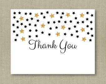Cute Twinkle Star Thank You Card / Twinkle Star Baby Shower / Glitter Star / Black & Gold / PRINTABLE Instant Download A140
