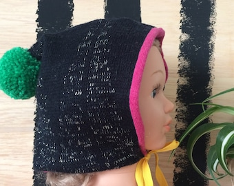 SMILE 2-3 Years Childrens Bonnet in Cashmere and Wool Pom Poms Cashmere Lined Ribbon Bobble Hat Unisex