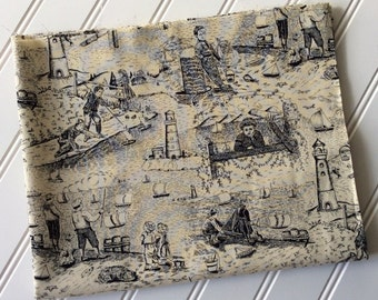 Peter-Pan-Fabrics-Fabric-By-The-Yard-Beach-House-Scene-Black-Toile-Cotton-Quilting-Fat-Quarters-Sewing-DIY-Projects-Crafts-Supplies