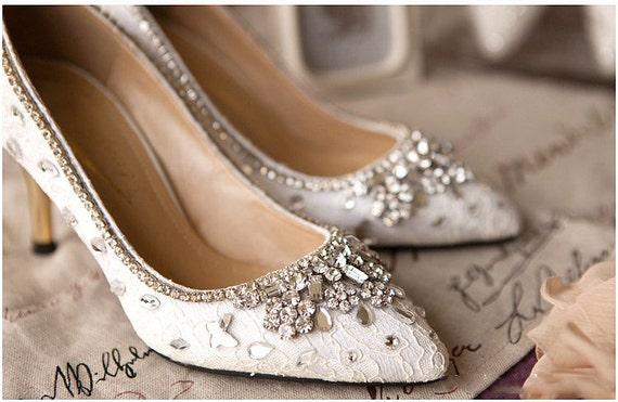 fancy wedding shoes items similar to white lace and 4048