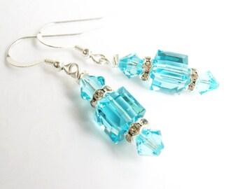 Turquoise Crystal Cube Earrings, Swarovski Crystal Drop Earrings, Sterling Silver Dangling Crystal Earrings, Gift for Her
