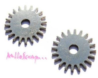 Set of 2 charms silver gears scrapbooking cardmaking 1 *.
