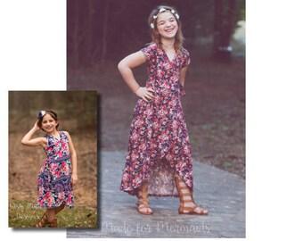 Girls Isabel Wrap Top, Dress & Maxi Pattern Sizes 1/2-14