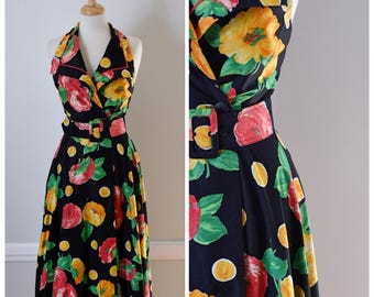 Vintage 90s Dress / Floral Fit and Flare Halter Dress / 90s Summer Dress / Size Small