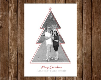 Contemporary Christmas Tree Christmas/Holiday Photo Card, Minimalist Holiday Card - DIY Printable JPEG