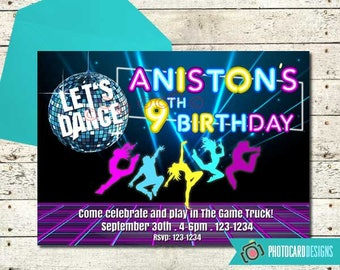 Dance Birthday Invitation, Let's Dance Party, Dance Invitation, Music Party, Digital, Neon Party, Disco Party, Party, Invitation, Invite