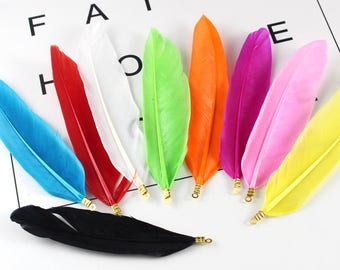 10PCS Colorful Goose Feathers - Great for weddings, crafts, jewellery, Earring+Hair making!-Perfect for Weddings and Dreamcatchers