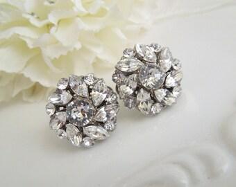 Bridal Earrings Swarovski Crystal Bridal Earrings Rhinestone Stud Earrings Statement Bridal Earrings Wedding Rhinestone Earrings NATALEE