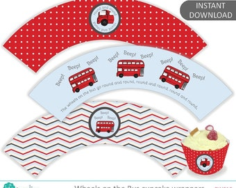 Wheels on the Bus printable cupcake wrappers, birthday party printables, red London bus, Digital Instant Download - CW010