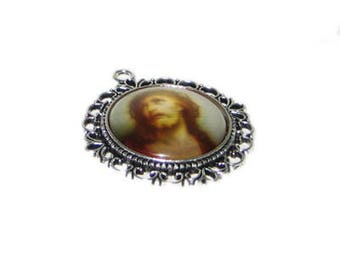 38 x 44mm Silver Christ Pendant