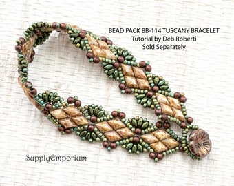 Bead Pack BB-114 Tuscany Solitaire Bracelet By Deb Roberti, Tutorial Sold Separately, BB114 Tuscany Solitaire Bracelet Bead Pack